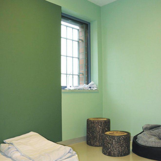 Übersichtliche und reizarme Gestaltung des Zimmers für einen autistischen Patienten. Foto: Baum/AMEOS